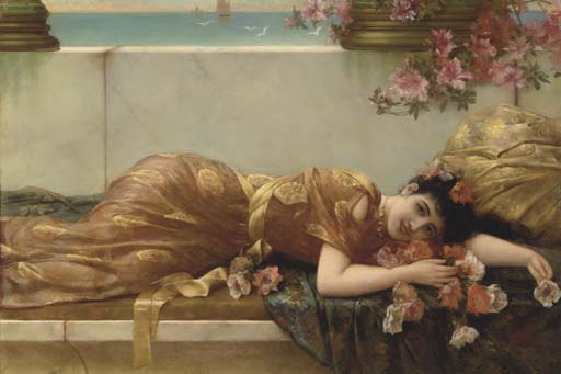 A Reclining Beauty by Emile Eisman Semenowsky (1859-1911) | Painting Copy | ArtsDot.com