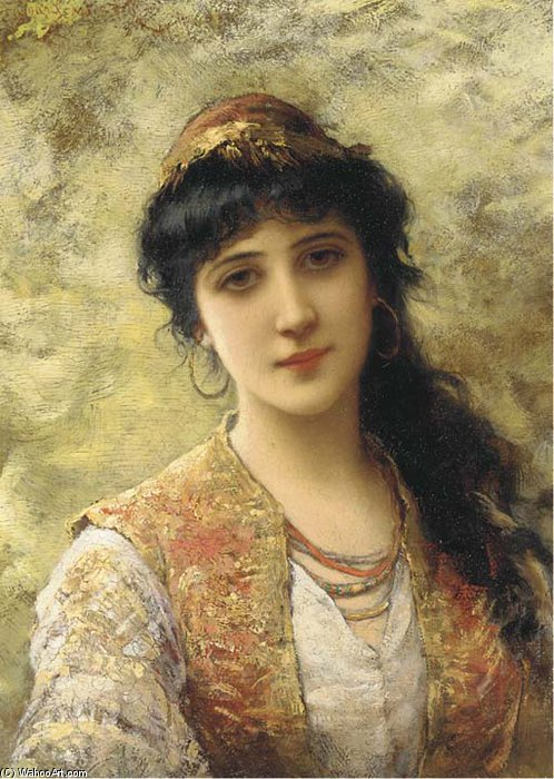 A Young Beauty In An Embroidered Vest by Emile Eisman Semenowsky (1859-1911)