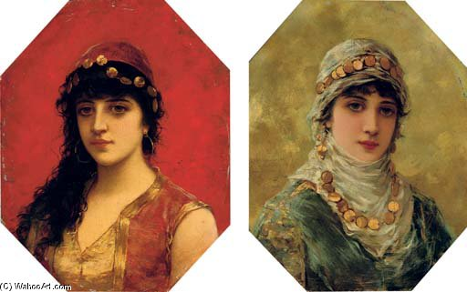 Portrait Of A Woman In A White Head Scarf; And Portrait Of A Woman In A Red Tunic With Gold Trim by Emile Eisman Semenowsky (1859-1911)