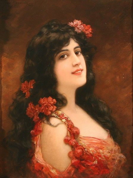 Young Girl With Flowers In Her Hair by Emile Eisman Semenowsky (1859-1911) | Painting Copy | ArtsDot.com