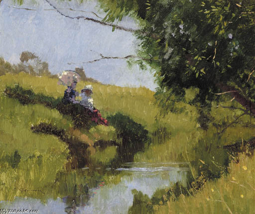 Meadow Stream by Elioth Gruner (1882-1939, New Zealand) | Museum Art Reproductions | ArtsDot.com