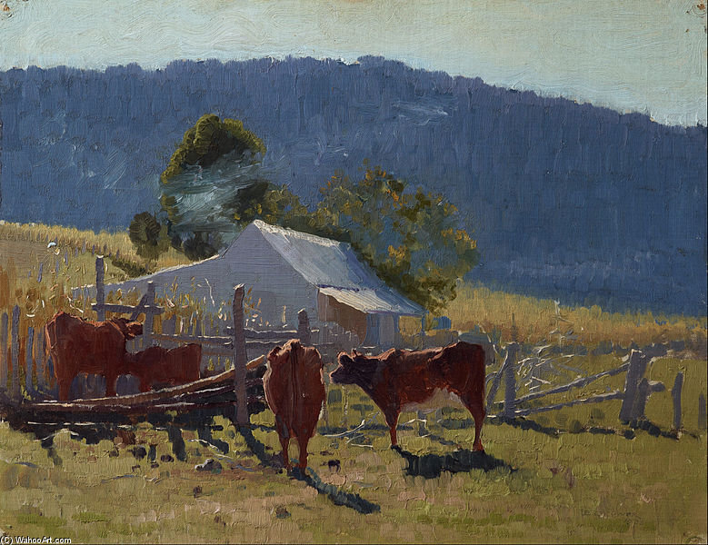 Order Painting Copy : Milking Time by Elioth Gruner (1882-1939, New Zealand) | ArtsDot.com