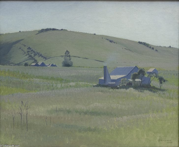 Order Oil Painting : South Coast Farm by Elioth Gruner (1882-1939, New Zealand) | ArtsDot.com
