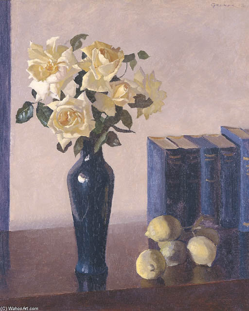 Yellow Roses by Elioth Gruner (1882-1939, New Zealand)