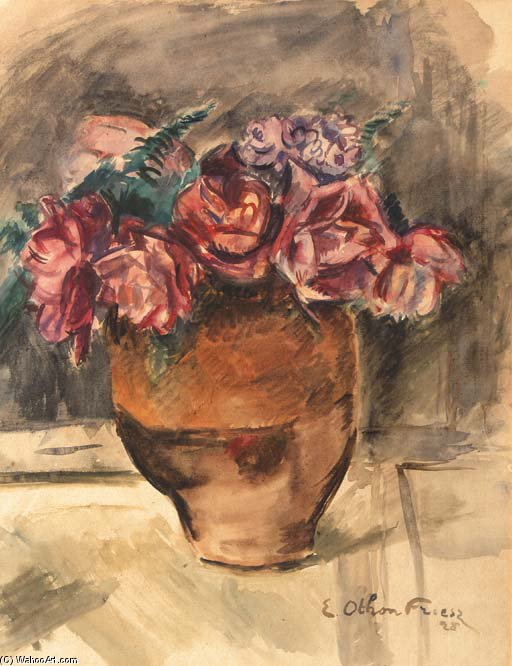 A Still Life With Flowers In A Vase by Emile Othon Friesz (1879-1949, France) |  | ArtsDot.com