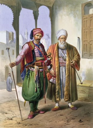 A Janissary And A Merchant In Cairo by Émile Prisse D'avennes (1807-1879, France)