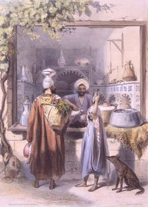 Émile Prisse D-avennes - A Zeyat Or Oil Seller With Customers In His Shop In Cairo