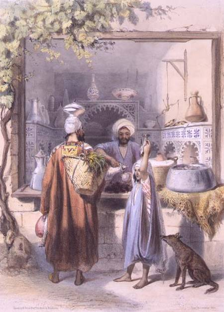 A Zeyat Or Oil Seller With Customers In His Shop In Cairo by Émile Prisse D'avennes (1807-1879, France)