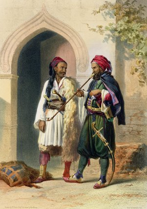 Arnaout And Osmanli Soldiers In Alexandria by Émile Prisse D'avennes (1807-1879, France) | Painting Copy | ArtsDot.com
