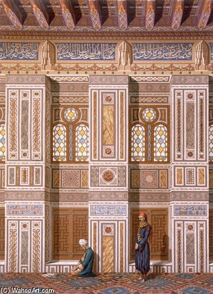 Interior Of The Mosque Of Qaitbay by Émile Prisse D'avennes (1807-1879, France) | Museum Quality Reproductions | ArtsDot.com