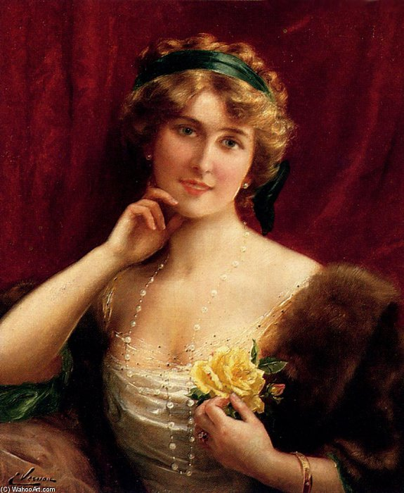 An Elegant Lady With A Yellow Rose by Emile Vernon (1872-1920, France) | ArtsDot.com
