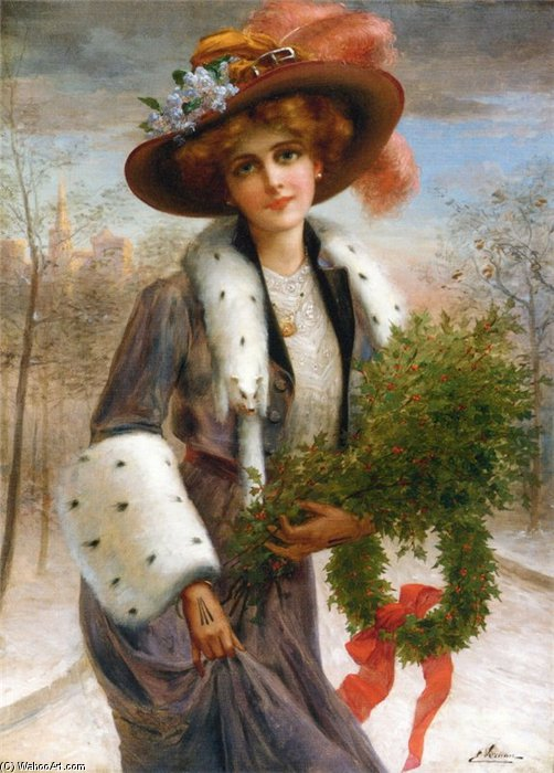 Season's Greetings by Emile Vernon (1872-1920, France)