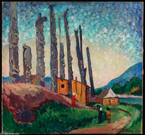 Gitwangak, Queen Charlotte Islands by Emily Carr (1871-1945, Canada) | Museum Quality Reproductions | ArtsDot.com