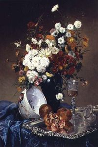 Eugene Henri Cauchois - Still Life With Flowers A..