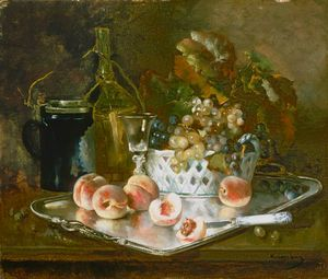 Eugene Henri Cauchois - Still Life With Peaches, ..