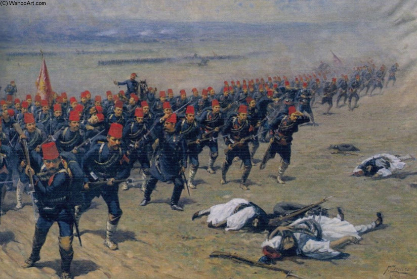 Ottoman Soldiers At War by Fausto Zonaro (1854-1929, Austria)