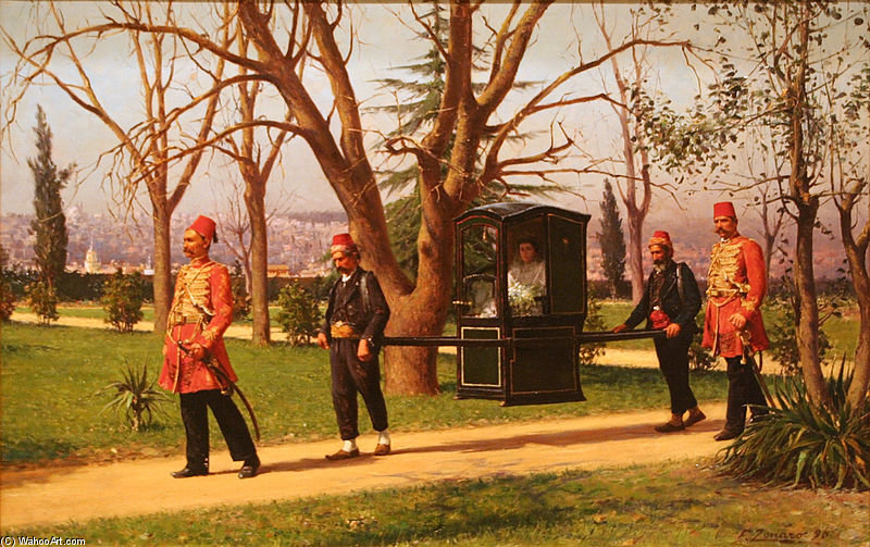 The Daughter Of The English Ambassador Riding In A Palanquin by Fausto Zonaro (1854-1929, Austria)