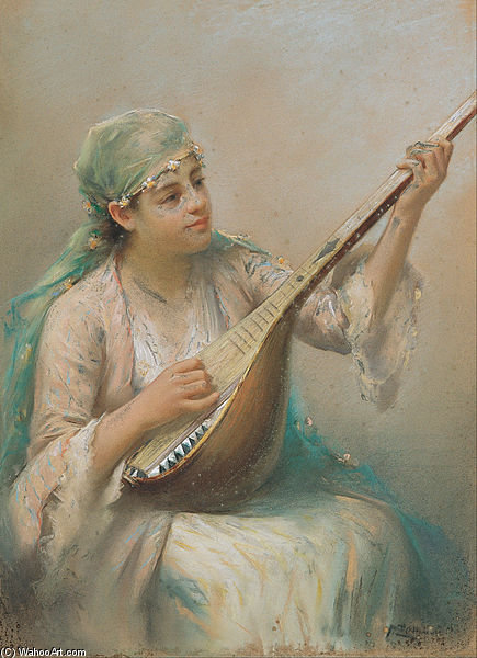 Woman Playing A String Instrument by Fausto Zonaro (1854-1929, Austria)