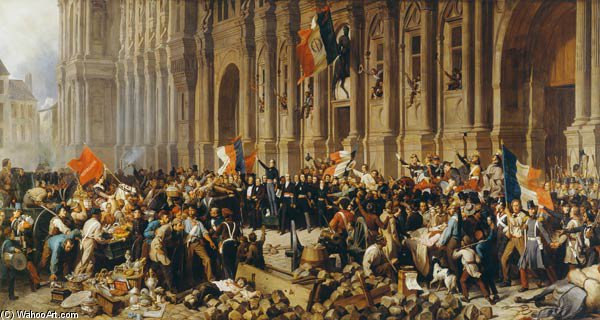 Lamartine Rejects The Red Flag by Henri Félix Emmanuel Philippoteaux (1815-1884, France)