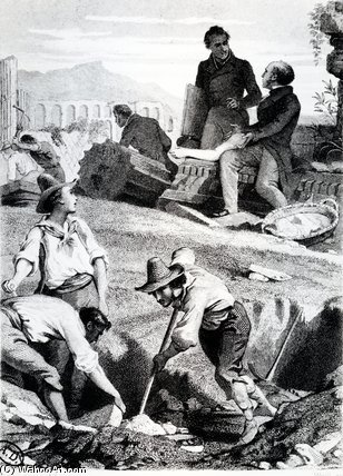 The Excavations At Torre Vergata by Henri Félix Emmanuel Philippoteaux (1815-1884, France)