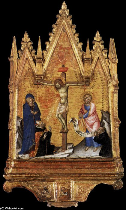 Crucifixion With Donor by Francesco Di Vannuccio (1356-1391, Italy) | Museum Art Reproductions Francesco Di Vannuccio | ArtsDot.com