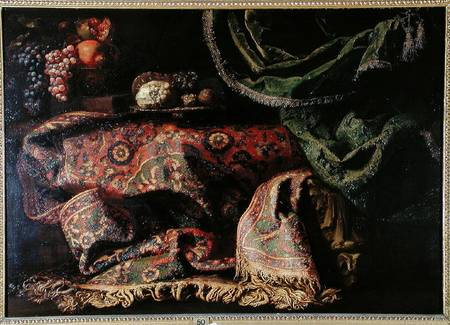 Still Life With A Carpet by Francesco Fieravino (Il Maltese) (1610-1670, Italy) | Paintings Reproductions Francesco Fieravino (Il Maltese) | ArtsDot.com