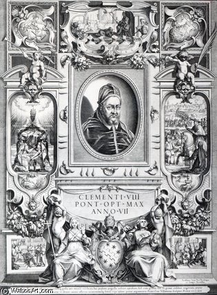 Pope Clement Viii by Francesco Villamena (1564-1624, Italy)
