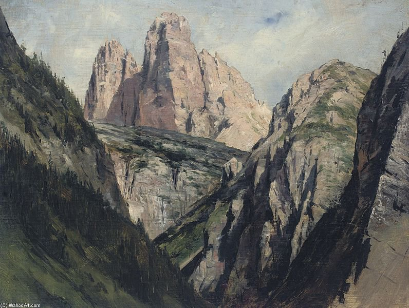 A Mountain Pass by Francois Flameng (1856-1923, France)