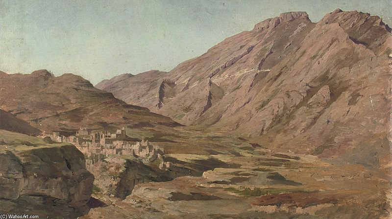 A Mountain Village In The Caucasus by Francois Flameng (1856-1923, France)
