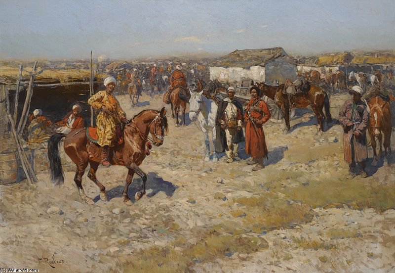 Central Asian Horse Market by Francois Flameng (1856-1923, France)