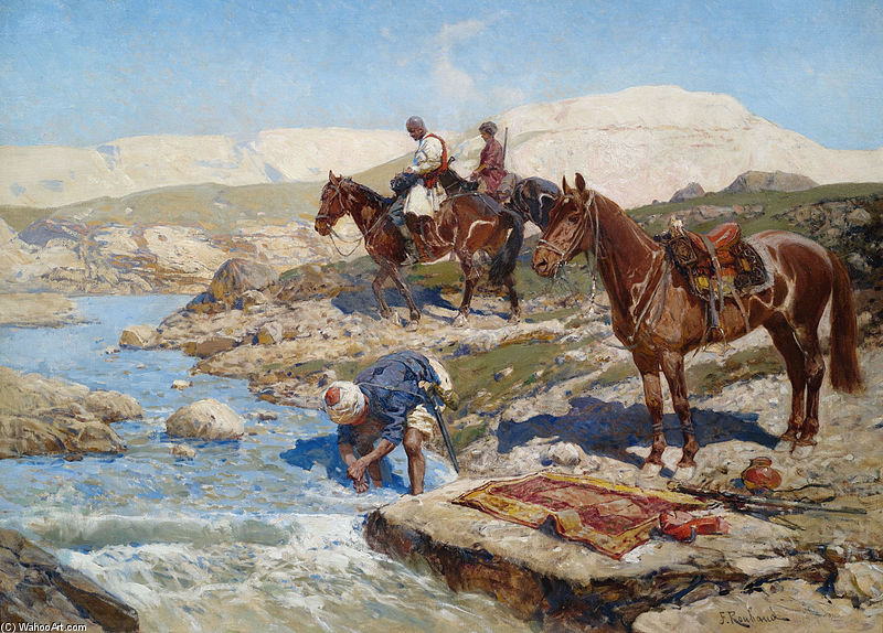 Circassian Horsemen At A River by Francois Flameng (1856-1923, France)