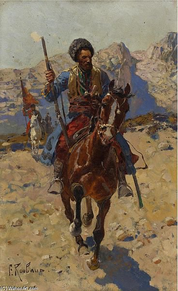 Cossack On Horseback by Francois Flameng (1856-1923, France)