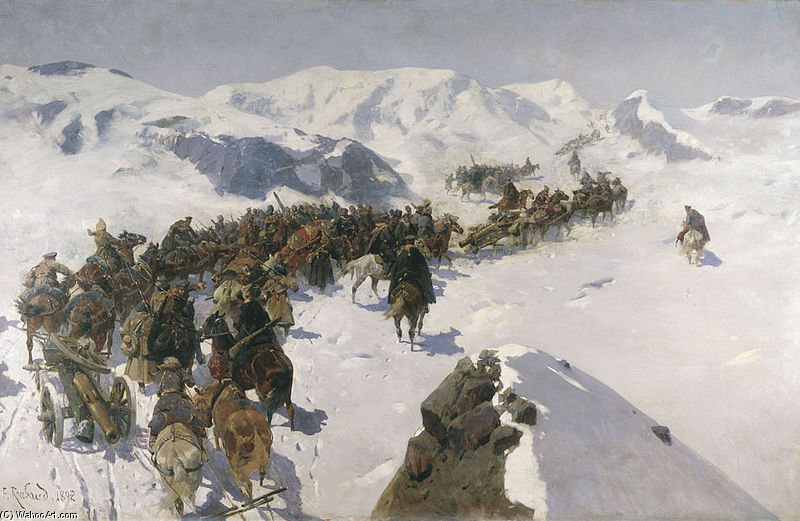 Count Argutinsky Crossing The Caucasian Range by Francois Flameng (1856-1923, France)