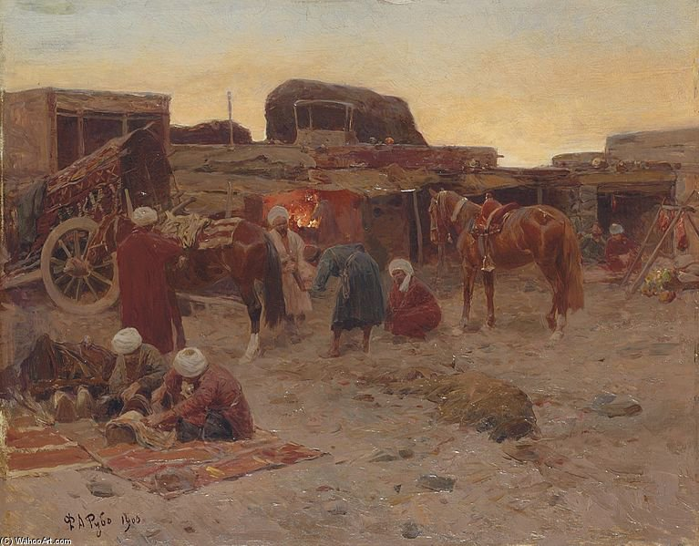 Evening Falls At The Camp by Francois Flameng (1856-1923, France)