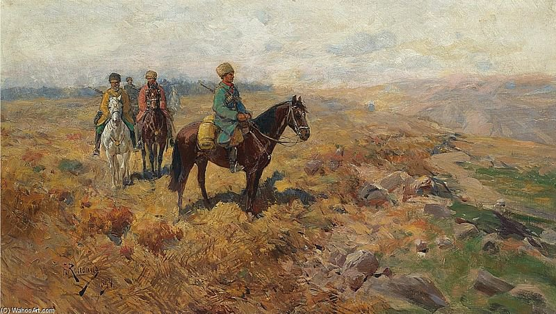 Horsemen In The Hills by Francois Flameng (1856-1923, France)