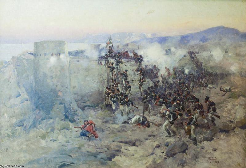 Russian Troops Storming Lankaran Fortress by Francois Flameng (1856-1923, France)