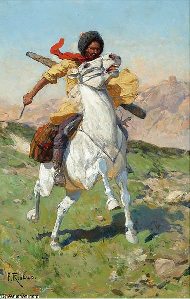 The Caucasian Warrior by Francois Flameng (1856-1923, France)