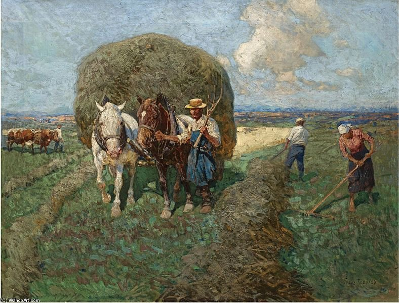 The Hay Card by Francois Flameng (1856-1923, France)