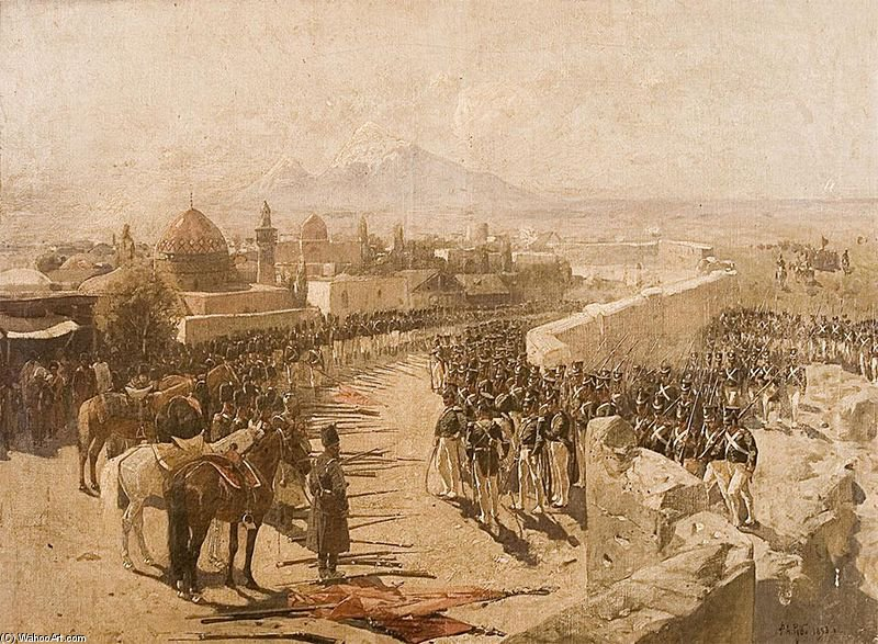 Yerevan Fortress Siege By Forces Of Tsarist Russia by Francois Flameng (1856-1923, France)