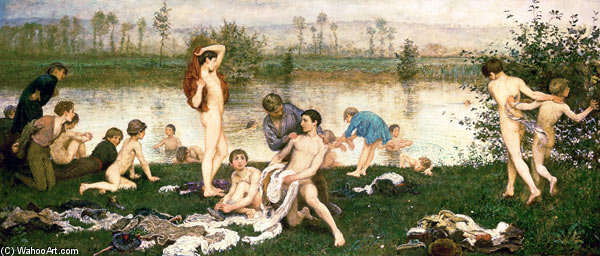 The Bathers - by Frederick Walker (1840-1875, United Kingdom)