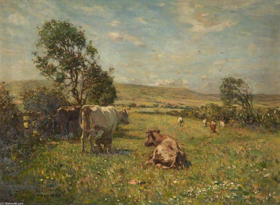 Cattle In A Meadow by Frederick William Jackson (1859-1918, United Kingdom)
