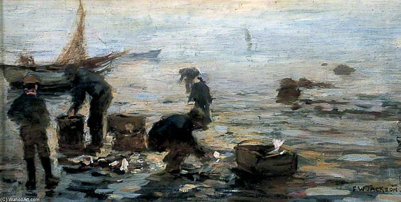 Coast Scene With Fishermen by Frederick William Jackson (1843-1942, United States)