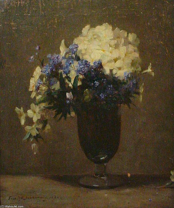 Primroses In A Glass Vase by Frederick William Jackson (1843-1942, United States)