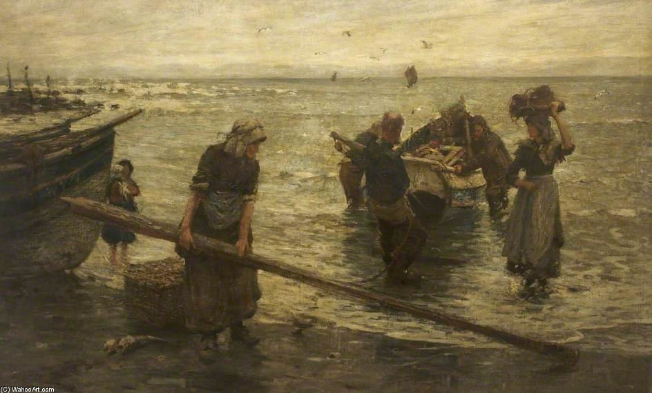Returning With The Catch by Frederick William Jackson (1859-1918, United Kingdom)