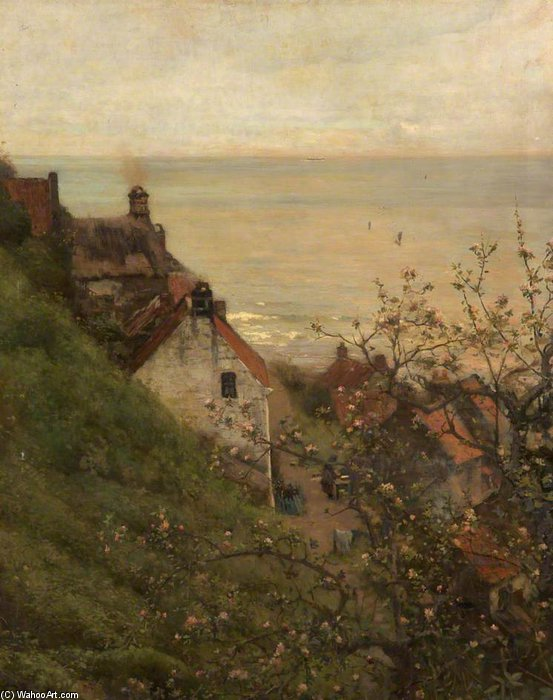 Robin Hood's Bay, North Yorkshire by Frederick William Jackson (1843-1942, United States)
