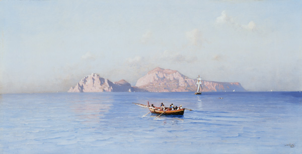 Look On Capri Of The Northern Side by Friedrich Nerly (1808-1878, Germany)