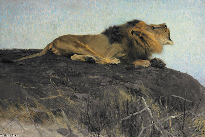 Brüllender Löwe by Friedrich Wilhelm Kuhnert (1865-1926, Poland) | Art Reproduction | ArtsDot.com