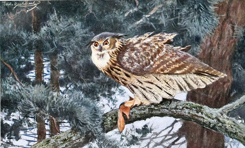 Eagle-owl by Friedrich Wilhelm Kuhnert (1865-1926, Poland) | Museum Quality Reproductions | ArtsDot.com