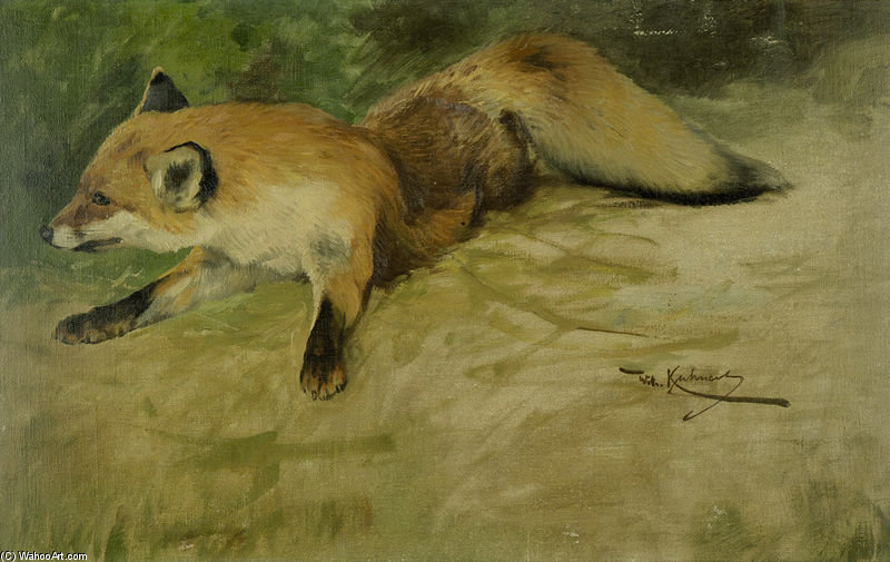 Liegender Fuchs by Friedrich Wilhelm Kuhnert (1865-1926, Poland) | Art Reproduction | ArtsDot.com