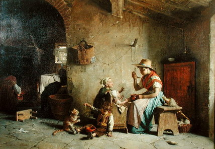 Feeding Baby by Gaetano Chierici (1838-1920, Italy)
